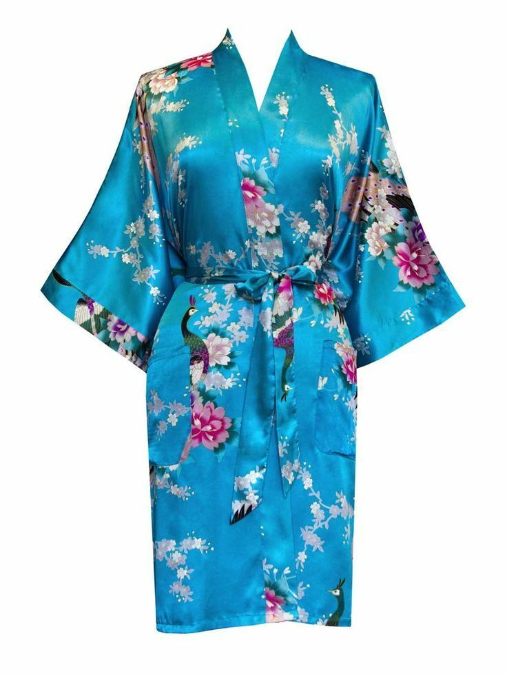mode pfau lang damen braut brautjungfer kimono robe satin nachthemd abendkleid ebay. Black Bedroom Furniture Sets. Home Design Ideas