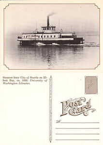 STEAMER-FERRY-CITY-OF-SEATTLE-ON-ELLIOTT-BAY-1890-REPRODUCTION-UNUSED-POSTCARD
