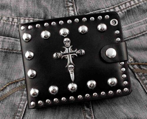 Men/'s Rock Gothique Punk Crâne Croix cloutée en cuir portefeuille//peut ajouter une chaîne