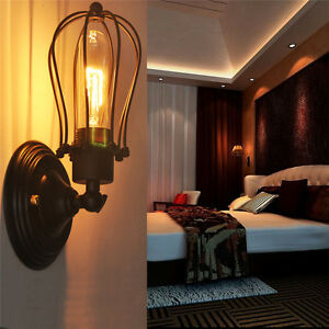Metal Vintage Style Industrial Wire Cage Closing Light Retro Lamp Wall Sconce