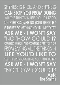 Image is loading Ask-The-Smiths-Word-Words-Song-Lyric-Lyrics-  sc 1 st  eBay & Ask - The Smiths - Word Words Song Lyric Lyrics Wall Art Typography ...
