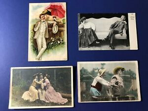4-Early-1900s-Romance-Greetings-Antique-Postcards-Collector-items-Value