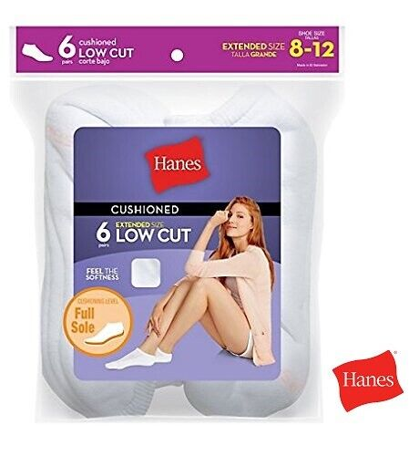 Special Value Packs Hanes Women/'s Low Cut Cushion Full Sole Socks Size 8-12