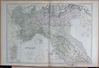 1882 LARGE ANTIQUE MAP - ITALY NORTH SARDINIA MILAN TURIN VENICE FLORENCE ROME