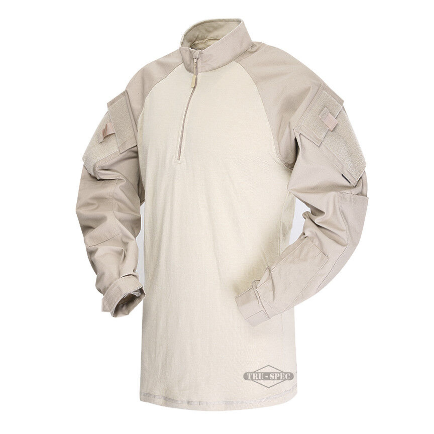 Tru-Spec Khaki Sand 1 4 Zip TRU Combat Shirt 65  35 Poly Cotton RS  big sale