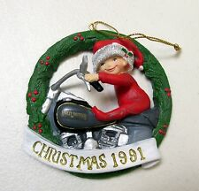 HARLEY DAVIDSON 1ST ISSUE 1991 FOR THE YOUNG AT HEART CHRISTMAS ORNAMENT *IN BOX