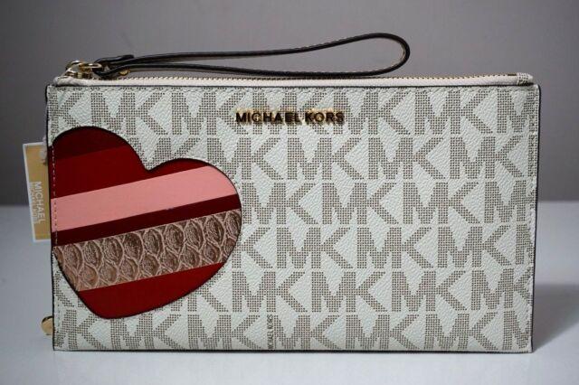 07124191bc5 Michael Kors Jet Set Signature Heart Vanilla/Pale Gold Large Zip Clutch  Wristlet