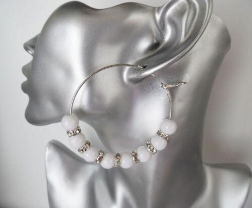 # 2 Hermoso Brillante 6cm Tono Plata nueva Blanco Perla Y Diamante pendientes de aro