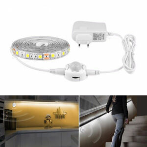 Wireless-Motion-Activated-PIR-Sensor-Night-light-1-5M-LED-Strip-5050-Under-Bed