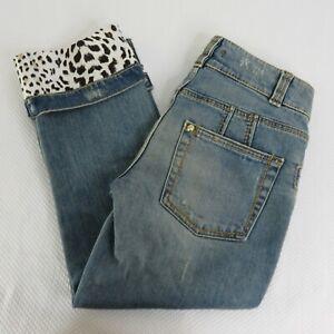 Roberto-Cavalli-US-2-Italy-38-Skinny-Capri-Blue-Jeans-Leopard-Print-Cuff