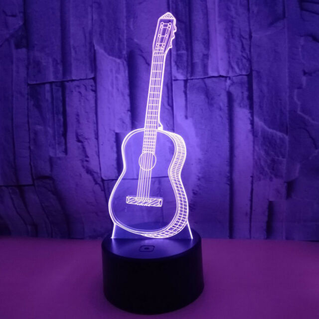 Delicate 3D Guitar USB LED Switch Night Lights Home Decors Bedroom Desk Lamps