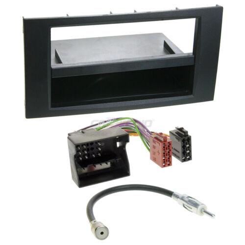Autoradio Einbauset 1-DIN Ford Focus C-Max 03-07 Kabel Einbaurahmen schwarz