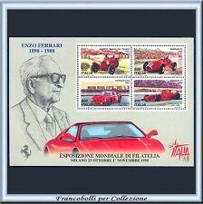 1998 Italia Repubblica Foglietto Expo Italia 98 Ferrari n. 20 Nuovo Integro **