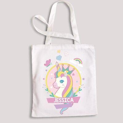 Kids Personalised Any Name Unicorn Girls Tote Bag children/'s Cotton White
