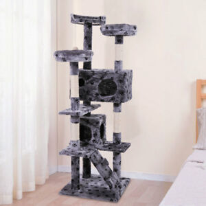 Cat-Tree-Tower-Condo-Furniture-Scratch-Post-Kitty-Pet-House-Play-Gray-With-Paw