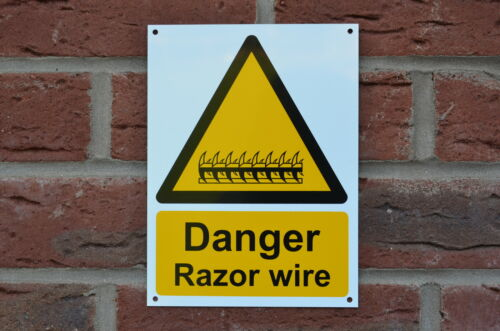 Danger Razor Wire Pre-Drilled Plastic Sign 200mm x 100mm Silk Screen Printed