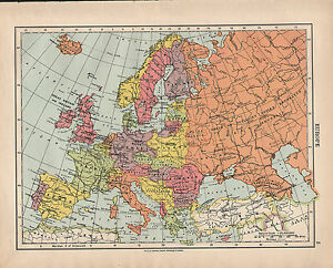 1924 map europe british isles france spain norway denmark italy image is loading 1924 map europe british isles france spain norway gumiabroncs Images