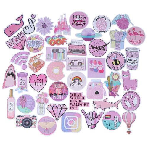 53Pcs Kawaii pink fun stickers luggage scrapbook suitcase laptop car sticke X