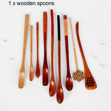 4pcs Wooden Long Handle Honey Mixing Spoon Stirrer Coffee Tea Stirring Spoon OK