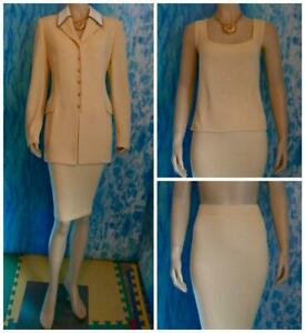 St. John Collection Yellow Jacket Skirt Top L 10 12 3pc Set Buttons Cream Collar