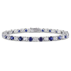 Amour Timeless Sterling Silver Created Blue and White Sapphire Tennis Bracelet
