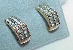 10k-28-Diamond-Earrings-Pyramid-Post-Stud-Half-Hoop-Huggie-Yellow-Gold-Gorgeous