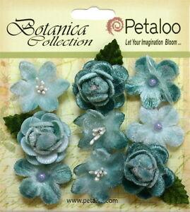 VINTAGE-VELVET-Mini-TEAL-x-9-Fabric-Flowers-25-30mm-Petaloo-C