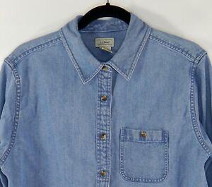 LL-Bean-Women-039-s-Faded-Blue-Denim-Cotton-Long-Sleeve-Shirt-Blouse-Size-M-Reg