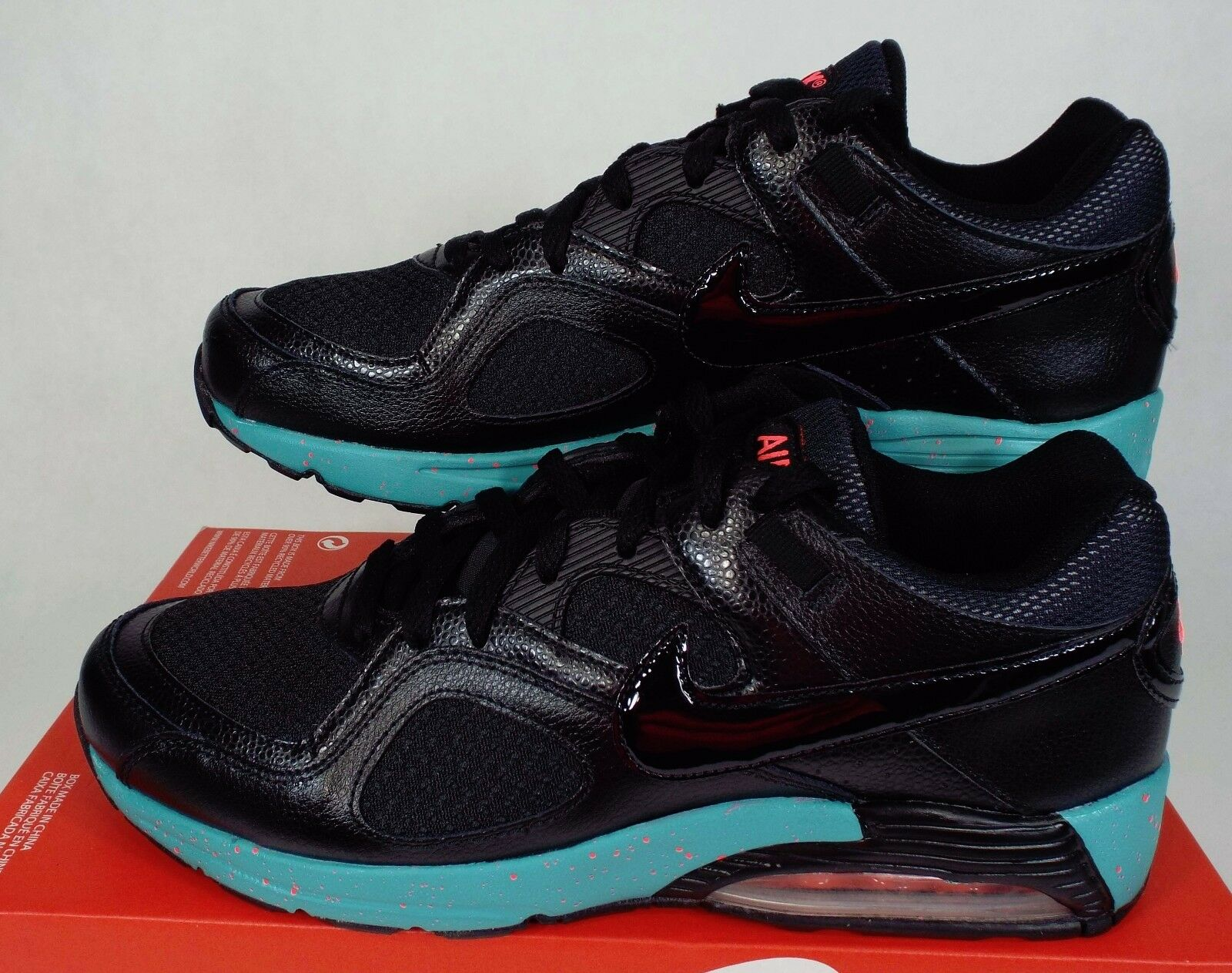 New Mens 8.5 NIKE Air Max Go Strong Black Sport Turquoise Shoes 75 418115-017