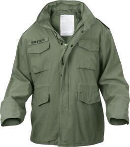 Image is loading Olive-Drab-Vintage-M-65-Military-Field-Jacket- 2e5914186