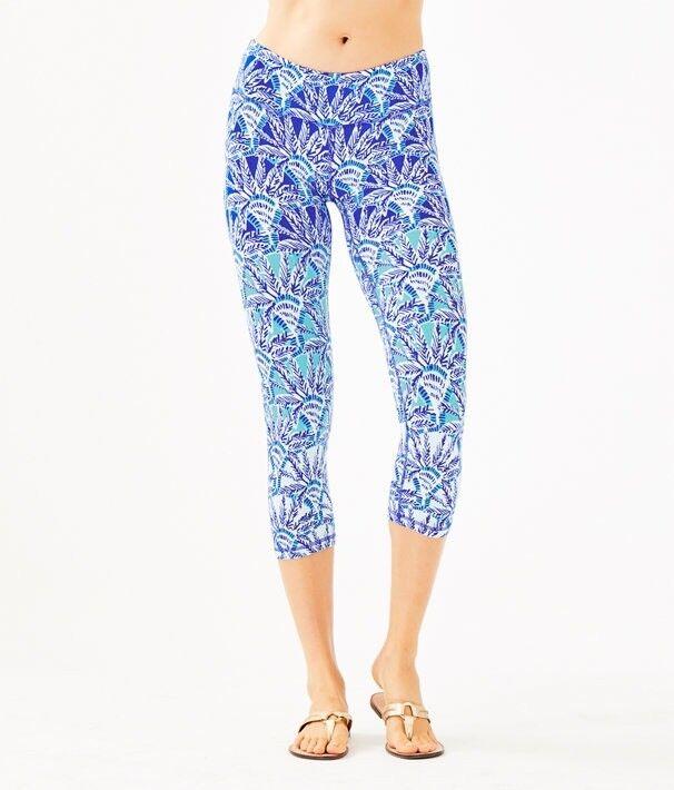 NWT Lilly Pulitzer UPF 50+ Luxletic Weekender Crop Legging Whisper bluee Sz M
