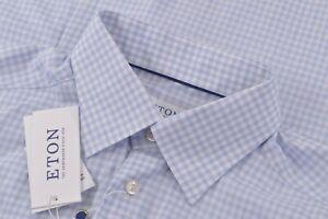 NWT Eton Size US 41 16 Large Contemporary Fit Dress Shirt Blue White Twill New