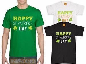 "Mens T-Shirt /""Happy St Patricks Day/"" Irish Green Shirt Mens Sizes S-XXL"