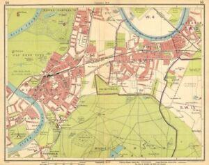 London Sw Map.Details About London Sw Richmond Mortlake Kew Twickenham Barnes E Sheen Petersham 1925 Map