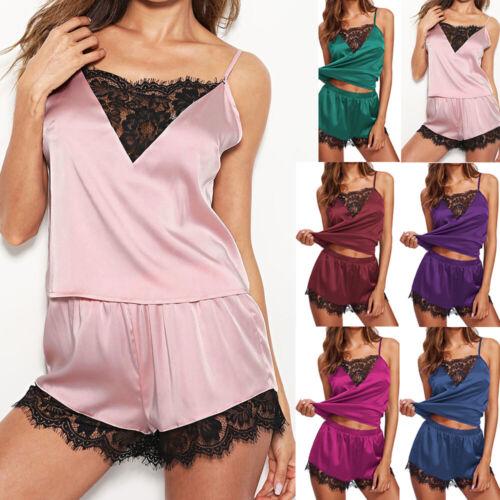 Damen Satin Spitze Nachtwäsche Pyjama Schlafanzug Sommer Pyjama Set Unterwäsche