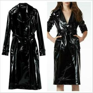 Casual slim Fit Coat British belted Trench Mid Long Jacket Patent Leather Parka