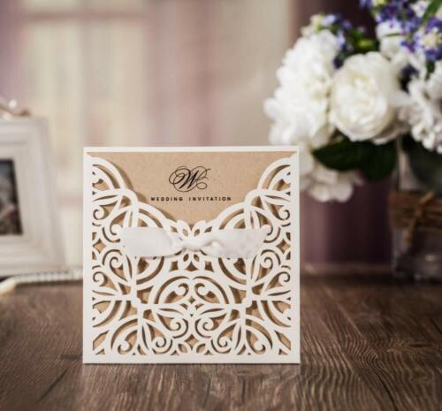 White Wedding Invitation Laser Cut Lace Rustic Invite Card Envelope Quinceanera