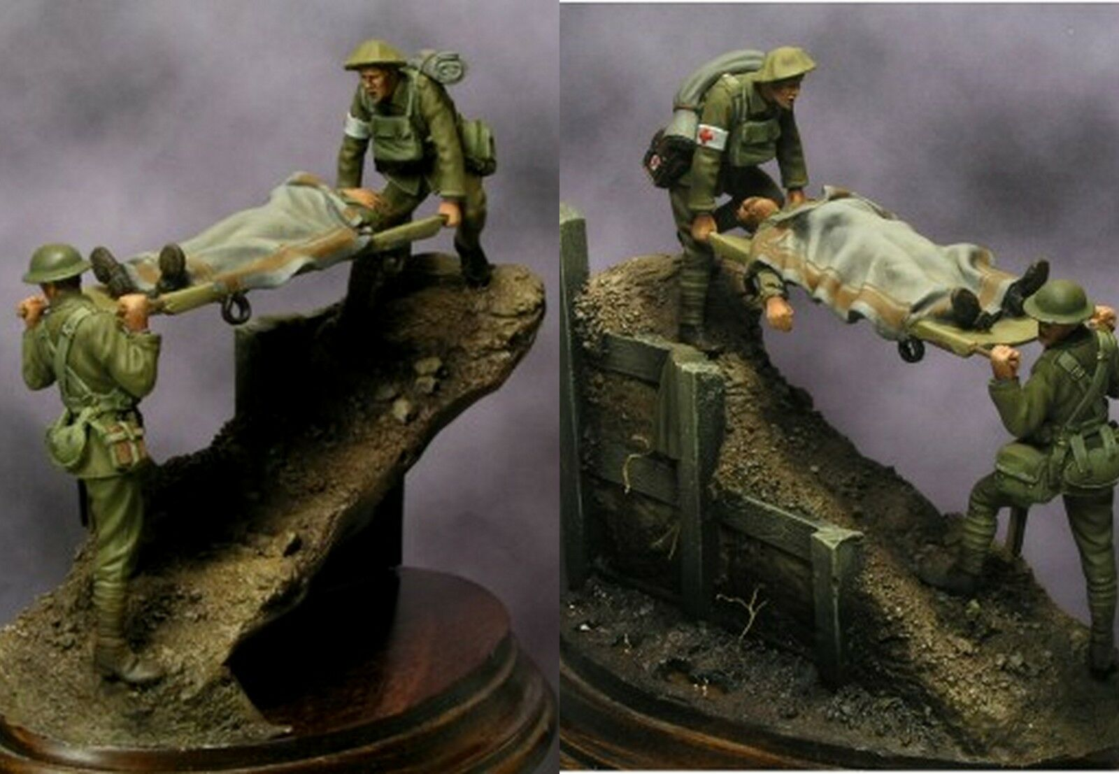 Beneito WW1 British Stretcher Bearers Vignette 54mm Model Unpainted kit