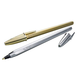 Image is loading BiC-Cristal-Celebrate-Ballpoint-Pens-Gold-amp-Silver-
