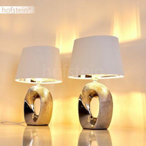 Keramik silber Stoff Schlaf Wohn Zimmer Leuchte 2er Set Lese Nacht Tisch Lampen