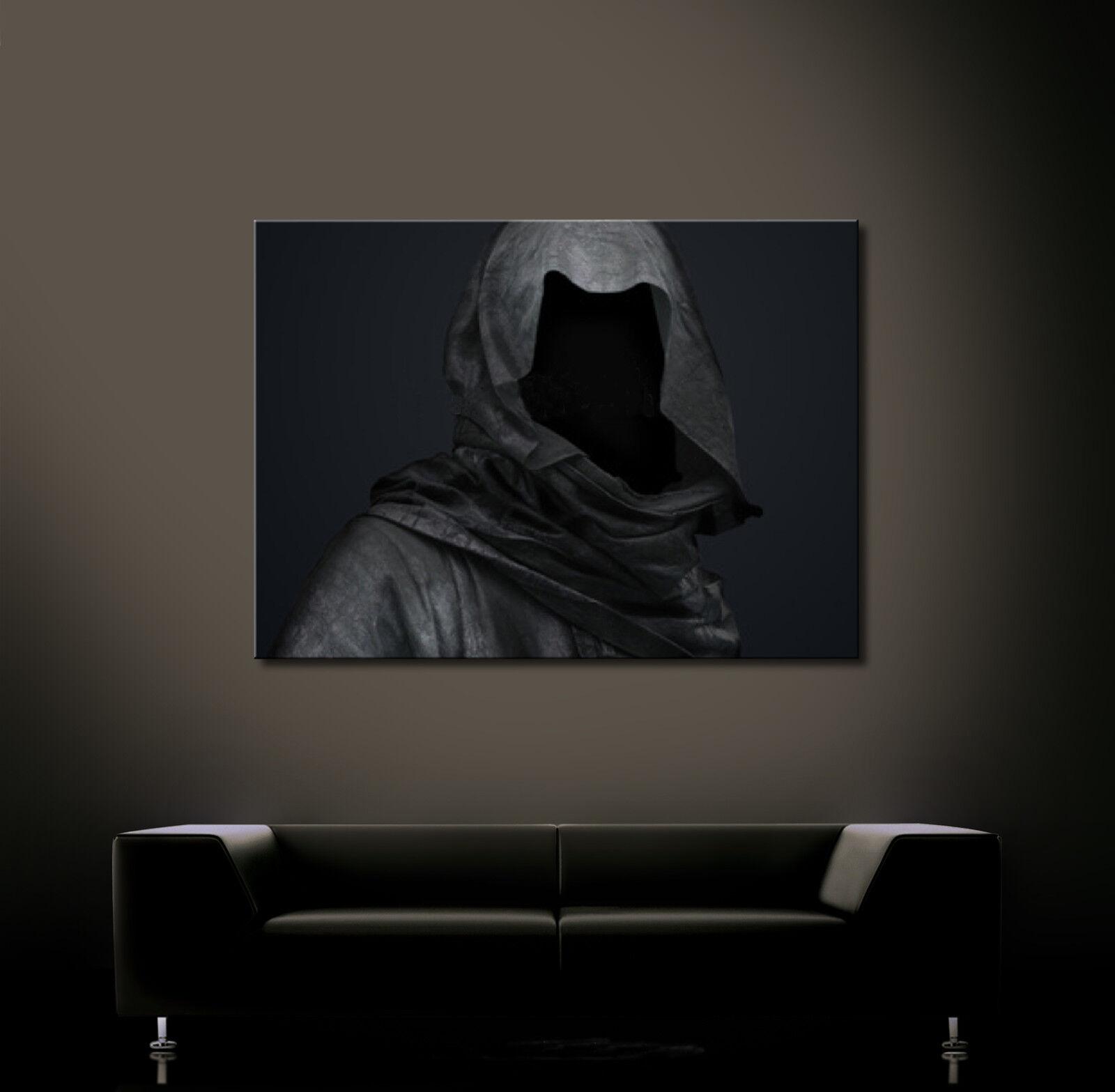 Death in the Dark tela tela tela stampa d'arte NERO morte astratto moderno culto XL 69c645