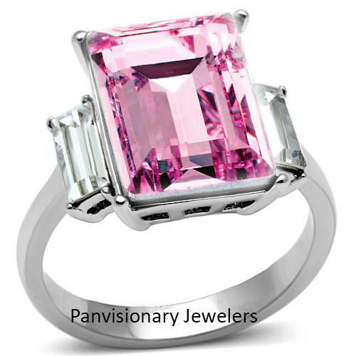 Pink Stainless Steel Ring 10 x 14mm Rectangle Cocktail w Crystal Clear Accents