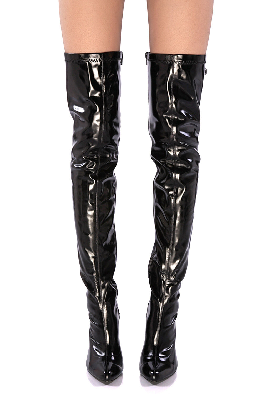 SX301 Stivali Alla Coscia NERI PVC Gloss Lucido Tacco Alto a Spillo 11 cm Tg. 44