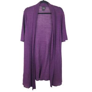 Eileen-Fisher-Womens-Purple-100-Hemp-Open-Front-Cardigan-Sweater-Size-Large