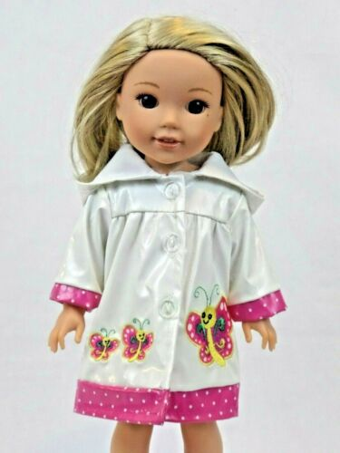 """White Butterfly Raincoat Fits Wellie Wishers 14.5/"""" American Girl Clothes"""