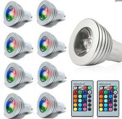 4X GU10 4W 16 Color Changing RGB LED Light Bulb Dimmable Lamp IR Remote Control