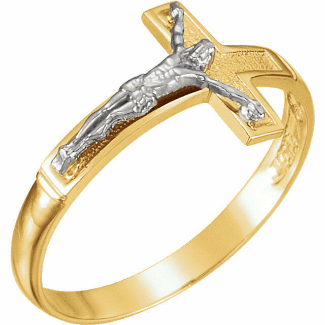Cross Ring 14kt Yellow gold Crucifix Ring Size 10 Can be Sized Two Tone 2.4 Gram