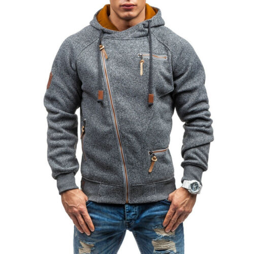 Mens Hoodies Jacket Casual Stylish Side Zip Up Hooded Sweatshirt Coat Overcoats