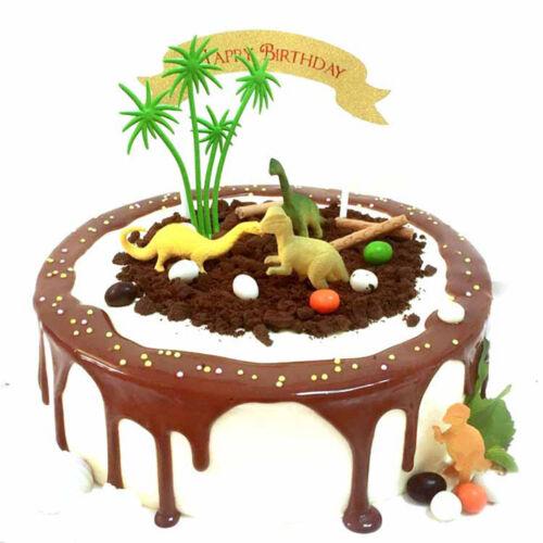 16pcs//Set DIY Cake Topper Jungle Dinosaur Ornaments Cake Baking Decor Kids Toy//