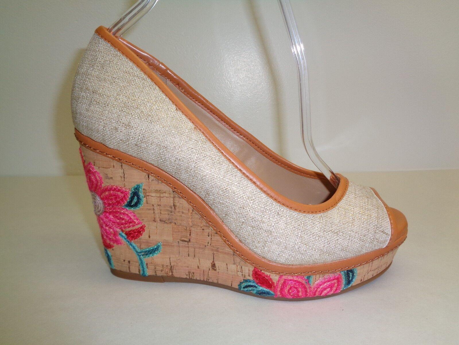 Antonio Melani Größe 10 M ALLIS Floral Braun Fabric Wedge Heels NEU Damenschuhe Schuhes